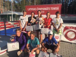 In Latvian Youth championships Singles two Gold and one Bronze medals