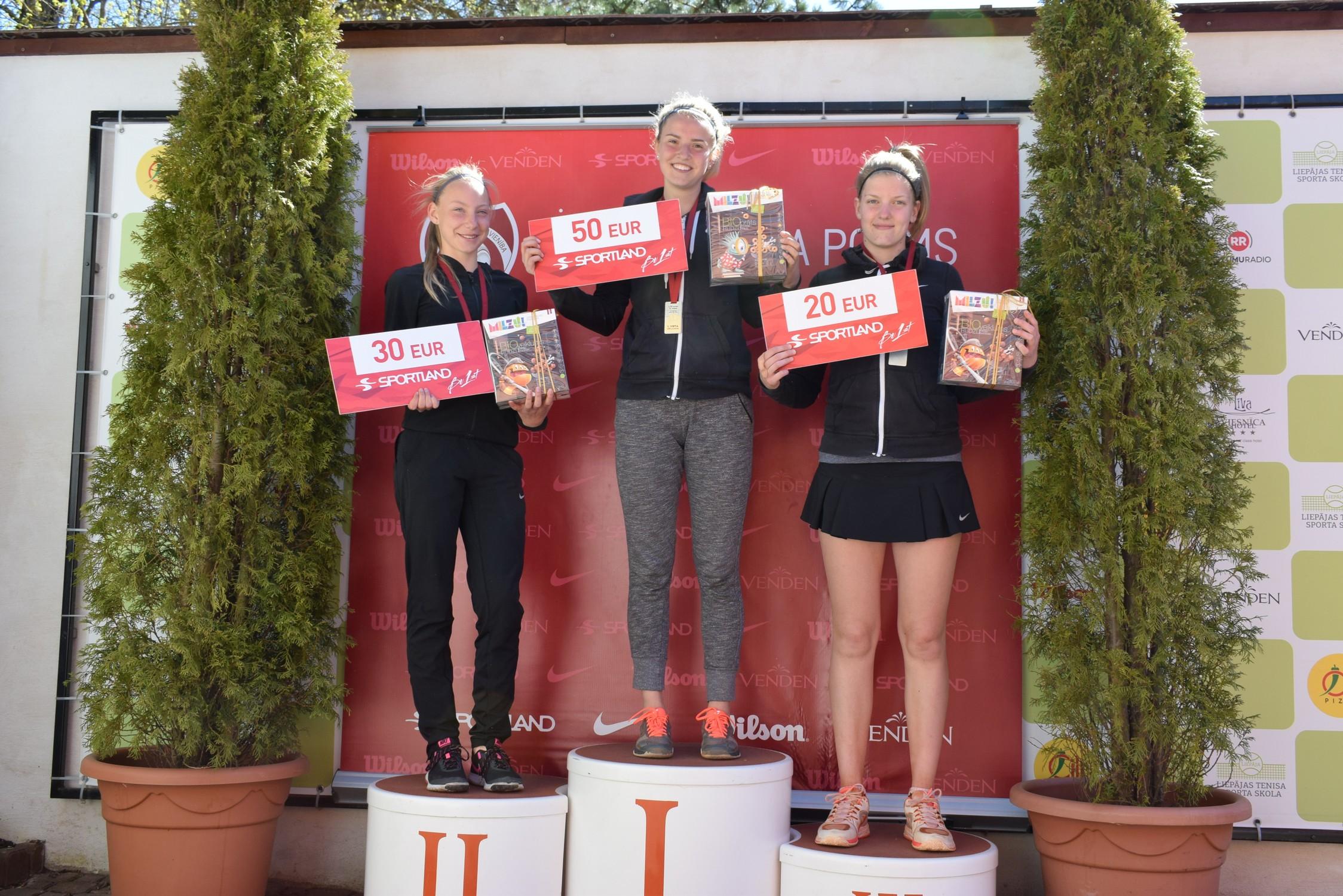 2017.gada 7.maijā visas trīs liepājnieces kāpa LTS kausa 5.posmā U18 vecuma grupai. Cerams, ka visas trīs liepājnieces arī ASV spēs aizņemt visu goda pjedestālu. (no kreisās - Patrīcija Špaka, Rebeka Margareta Mertena, Elza Tomase).